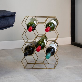 Leva étagère à vin metal dorée