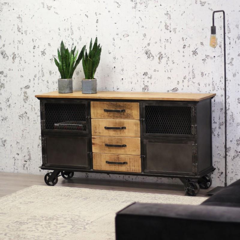 Metall Schrank Industrie Vintage Sideboard Nachtschrank Anrichte Weiß Retro
